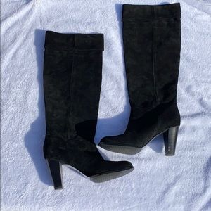 Tahari Black Suede Knee High Heeled Boots